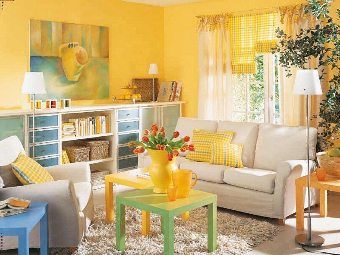 Украшение комнаты желтым цветом