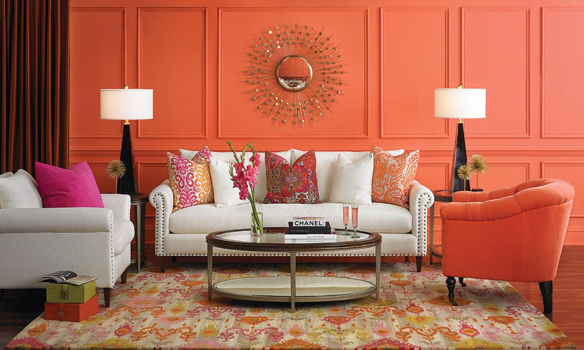 Как украсить комнату коралловым цветом?